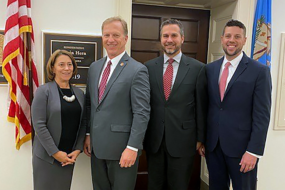 Photo of Community Care's Bob Bush and Josiah Sutton join ACHP's Ceci Connolly for a meeting with Congressman Kevin Hern of Oklahoma during the annual government relations fly-in.